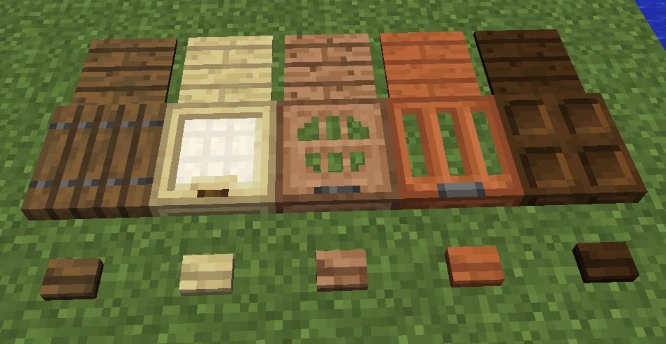 Minecraft 1.13 - Holzknöpfe, Druckplatten und Falltüren aus Holzblöcken
